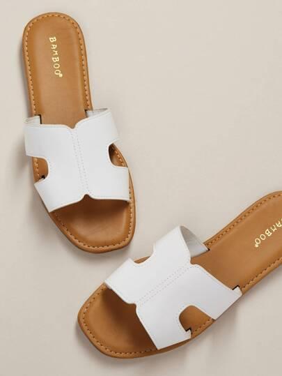 4612ed913a14 Single Band H Cut Out Slide Sandals