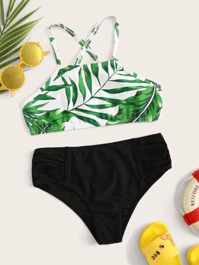 30c5d6428227 Girls Random Palm Print Ruched Bikini Set
