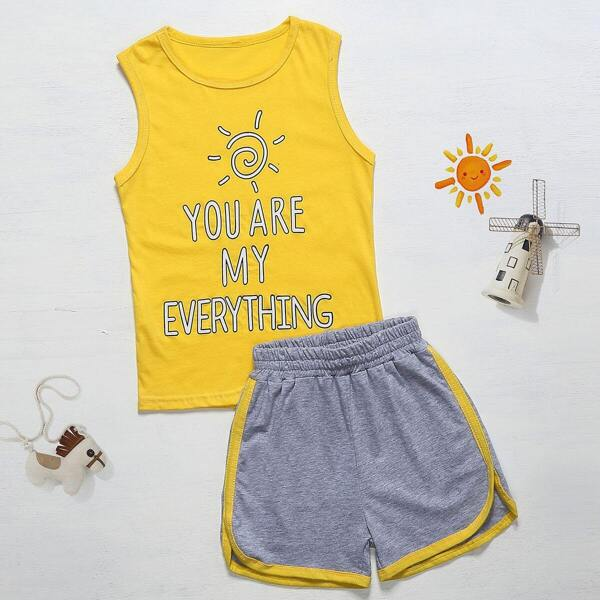 Toddler Boys Slogan Print Tank Top With Contrast Binding Shorts