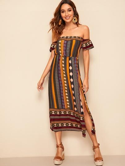 55fe12d6dc5c45 Schulterfreies Kleid mit Stamm Muster und Schlitz