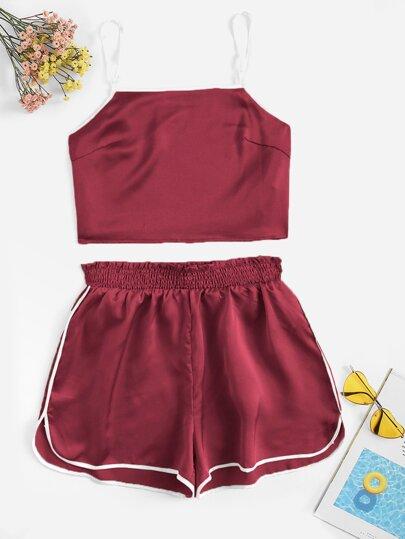 057715fac948d Contrast Binding Satin Cami Top   Shorts Set