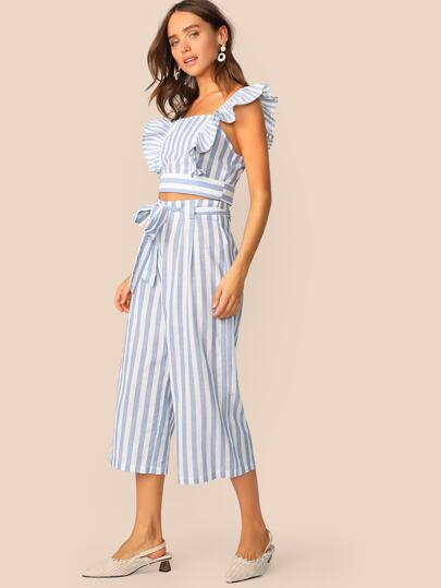 b86eb41de79 Ruffle Trim Striped Crop Top   Belted Culotte Pants Set