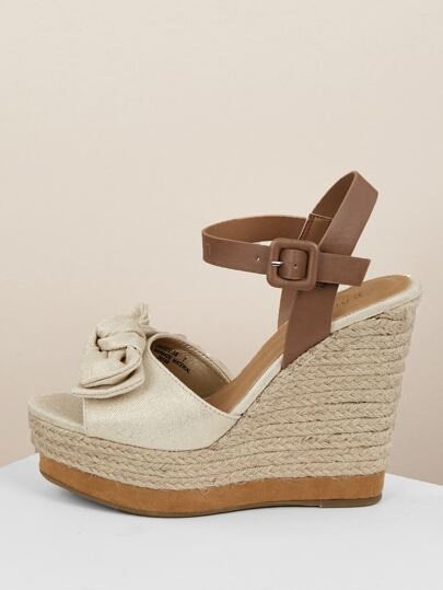 3b952cd1c71 Knot Front Jute Trim Platform Wedge Sandals