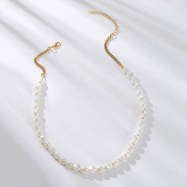 Faux Pearl Beaded Necklace 1pc, White