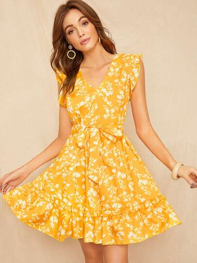 96d63e8c775 Floral Print Ruffle Hem Self Tie Dress