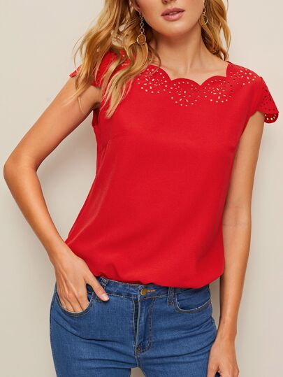 22b51d794977a2 Scallop Laser Cut Cap Sleeve Top