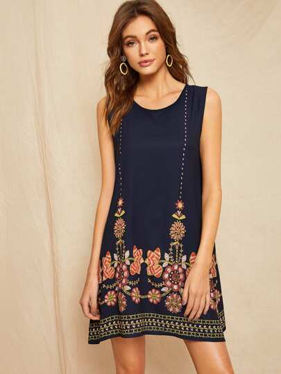 93d6ff7826a88d Floral Embroidered Dress