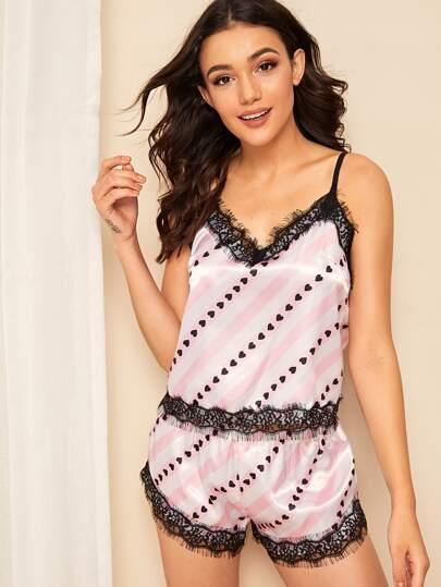 15cbd9d6d9c0 Heart Print Striped Lace Trim Satin Cami PJ Set