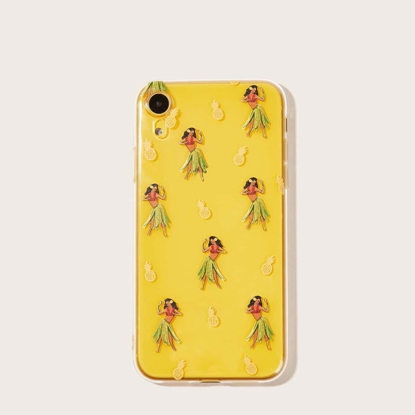 Pineapple & Lady Pattern Transparent iPhone Case, Orange