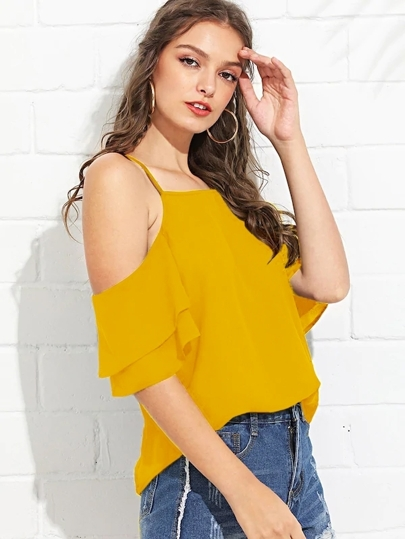 2905aa5b19006 Cold Shoulder Layered Sleeve Top