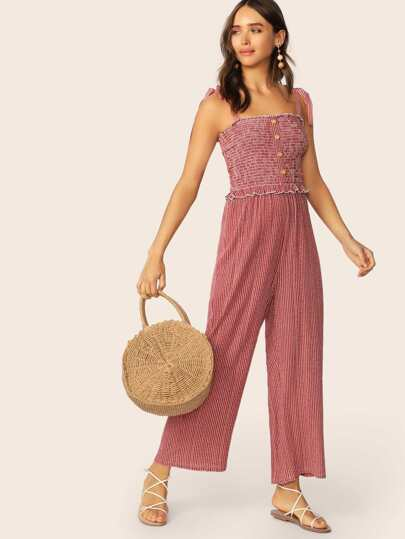 0d5688f7069d Tie Strap Buttoned Front Shirred Bodice Striped Jumpsuit