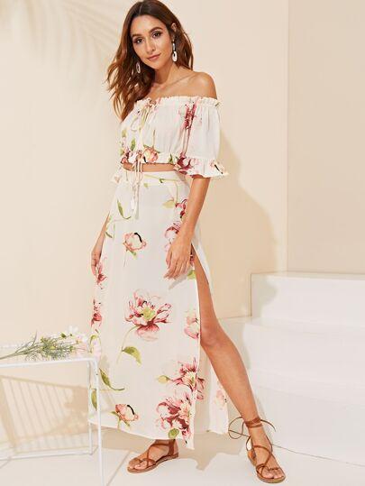 dd03c7b2e95a08 Off Shoulder Tassel Tie Floral Top   Split Skirt Set