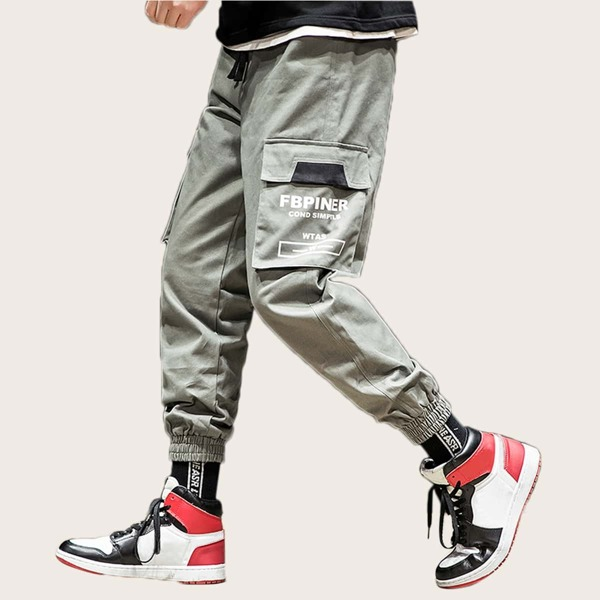 Men Pocket Side Utility Pants, Grey