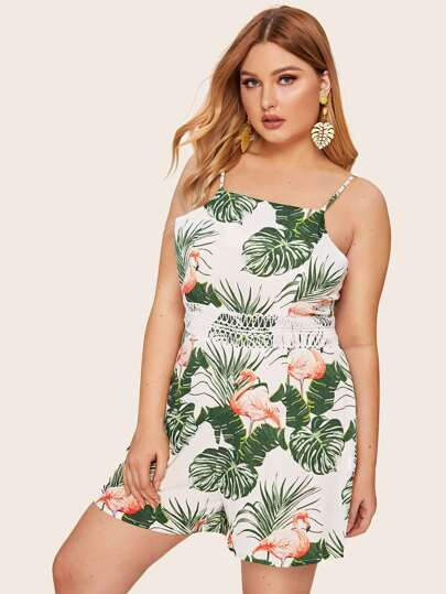 143ab13087 Plus Contrast Lace Palm Tree And Flamingo Print Cami Romper