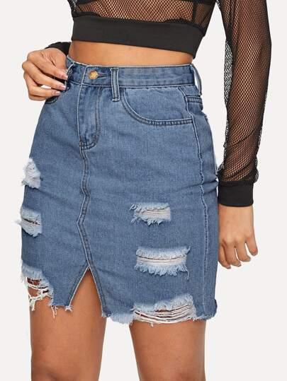 497d0ac158 Ripped Raw Hem Denim Skirt