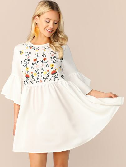 8ecac6753dd1 Embroidered Floral Flounce Sleeve Smock Dress
