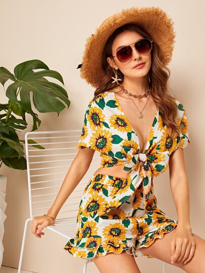 a7cb9f8c6b37 Sunflower Knotted Top   Ruffle Hem Shorts Set