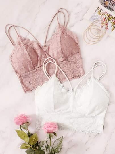 b4d91e1dd7 Floral Lace Criss Cross Bra Set 2pack