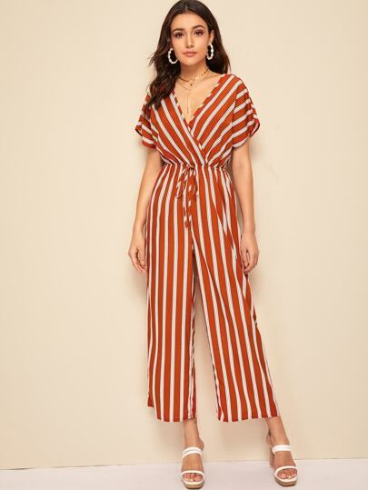 5ceab757a4c8 Wrap Surplice Tie Front Striped Jumpsuit