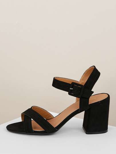 45296d4c2270 Criss Cross Band Ankle Strap Chunky Heel Sandals