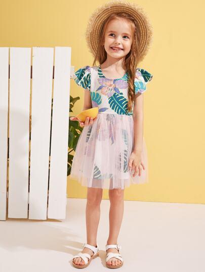 37217281e121a9 Toddler Girls Jungle Leaf Mesh Overlay Dress