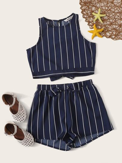 9d442bdc895f5d Girls Bow Tie Back Striped Tank Top and Shorts Set