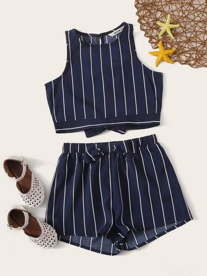 f30b831777 Girls Bow Tie Back Striped Tank Top and Shorts Set