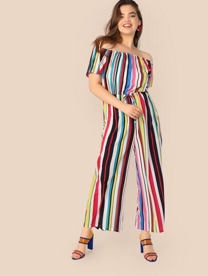 e1e8d69491 Plus Colorblock Striped Off Shoulder Drawstring Waist Jumpsuit