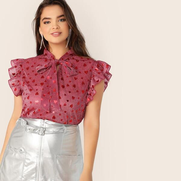 Plus Tie Neck Ruffle Armhole Heart Print Top