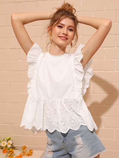 23b095a8601a35 Eyelet Embroidered Ruffle Cuff Blouse