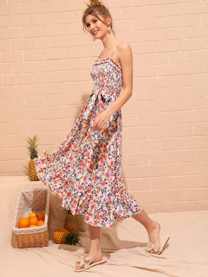 57e6939b8b72 Ditsy Floral Shirred Ruffle Hem Belted Cami Dress