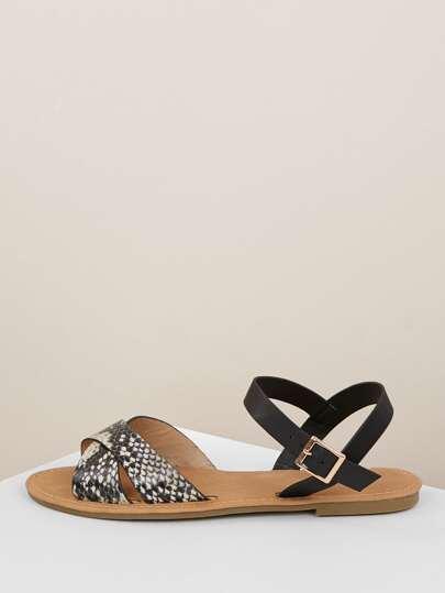 d18a52465cb8 Snakeskin Cross Band Side Buckle Flat Sandals