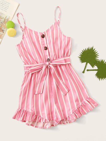 00bf9cd4d06ec9 Girls Button Half Placket Ruffle Hem Striped Romper