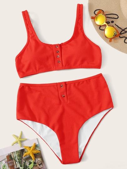 72ae03b02589 Bikini con vita alta e Top con bottone frontale grandi dimensioni