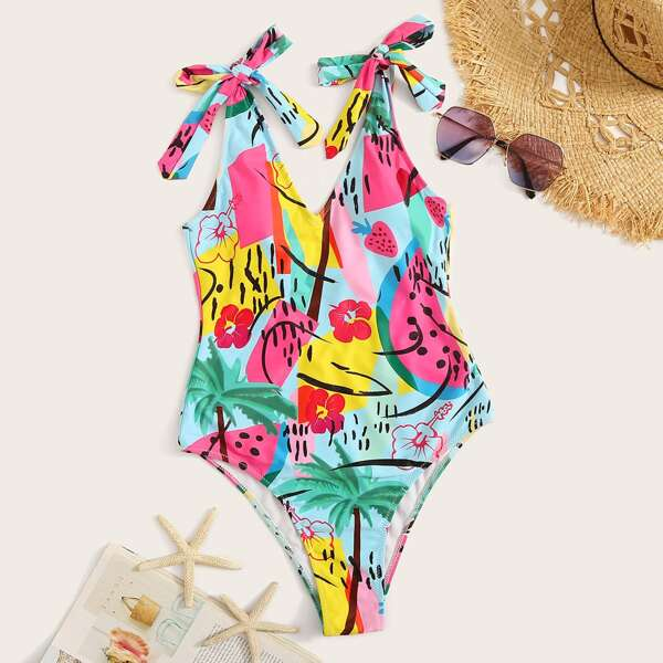 Random Graphic Print Tie Shoulder One Piece Swimsuit, Multicolor