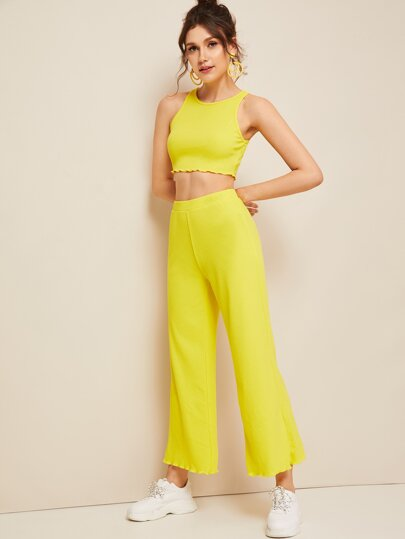 1e86c9fc5dd Neon Yellow Lettuce Trim Top   Pants Set