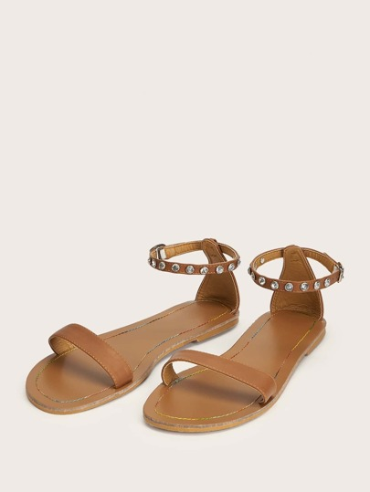 bea95f06017 Rhinestone Decor Ankle Strap Sandals