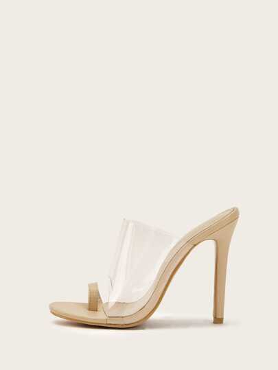 19409bff152 Toe Ring Transparent Heeled Mules
