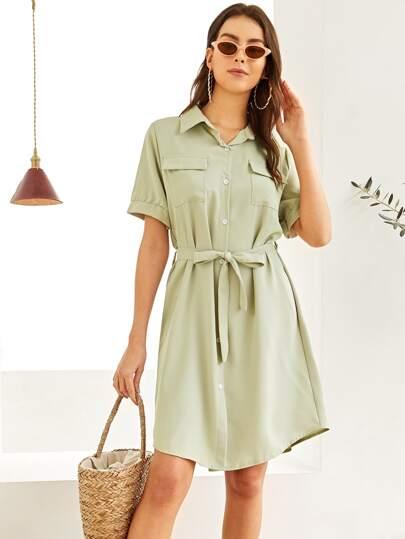 1420d32df0efb0 Kleid mit Einreihig und Selbstbindung