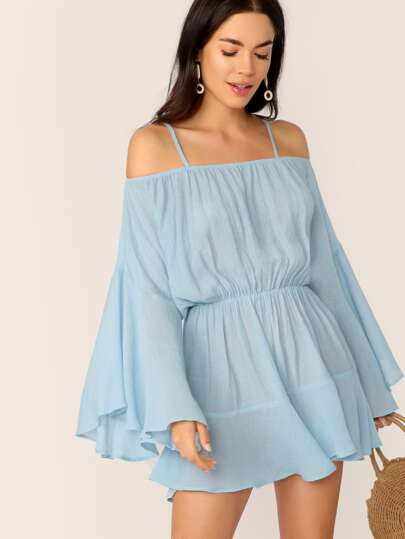 29fcc5c1e43 Exaggerate Bell Sleeve Romper With Strappy