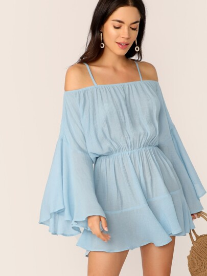 a3dfa81e317 Exaggerate Bell Sleeve Romper With Strappy