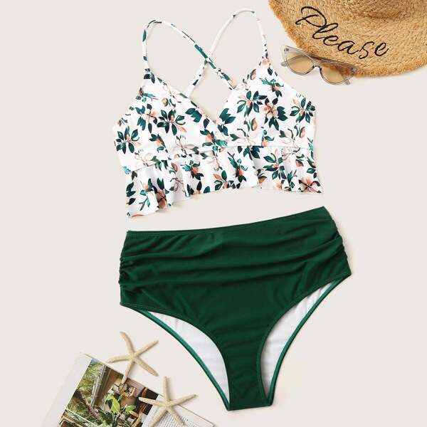 Plus Floral Criss Cross Top With High Waist Bikini, Multicolor