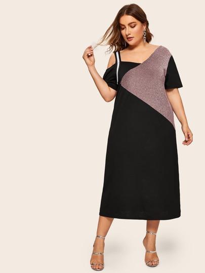 f11bffb94ea0 Plus Asymmetrical Neck Cut And Sew Dress