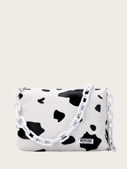 a8d9d91bd2e Bolsa de mano con cadena con estampado de vaca