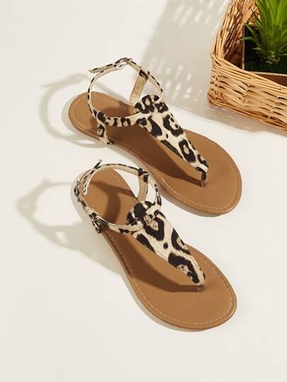 04ecc10da0e Leopard Pattern Toe Post Flat Sandals