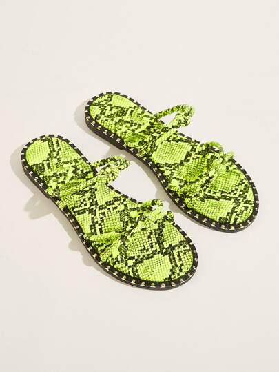 014a543be Snakeskin Pattern Neon Flat Slippers