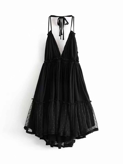 3d8a80f5b78e Lace Panel Dobby Mesh Halter Dress