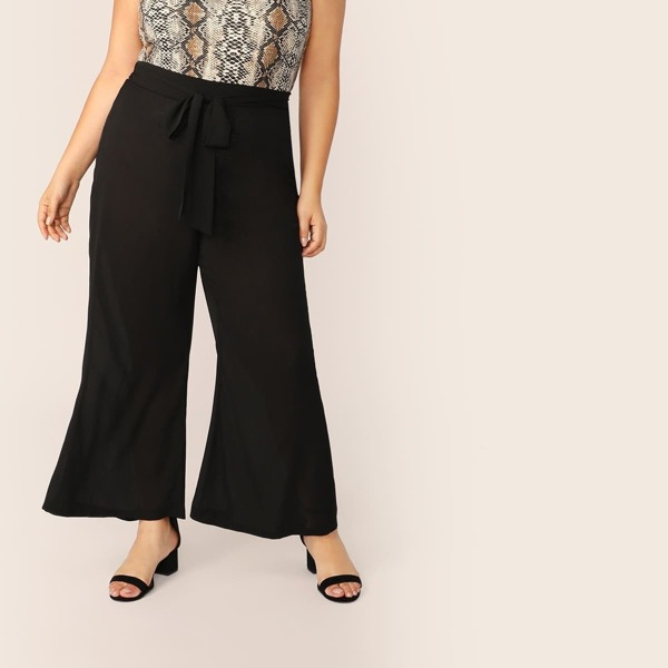 Plus Flared Wide Leg Belted Pants, Black