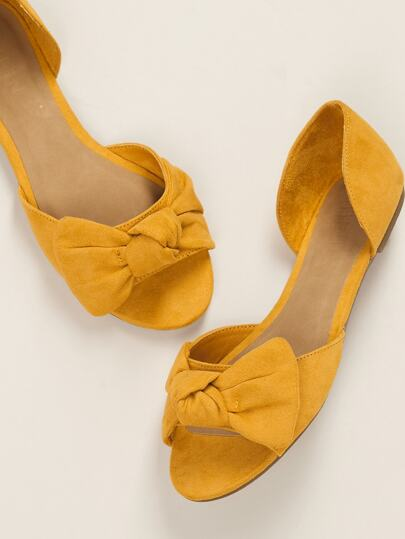 d86671a78075 Open Toe Knot Accent Dorsay Style Slide On Flats