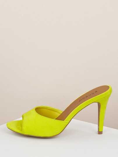 864fada3e2ad Neon Open Toe Stiletto Heel Mules